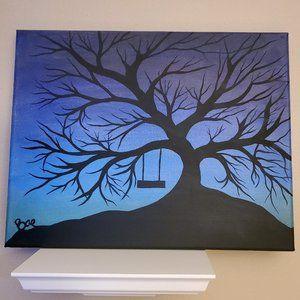 Black Tree Silhouette w/ Swing Acrylic Painting O
